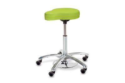 Rollhocker mit Sattel-Sitzfläche & Höhenverstellung über Fußring