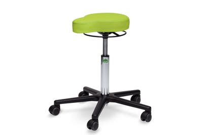 Rollhocker mit Sattel-Sitzfläche & Höhenverstellung über Handring
